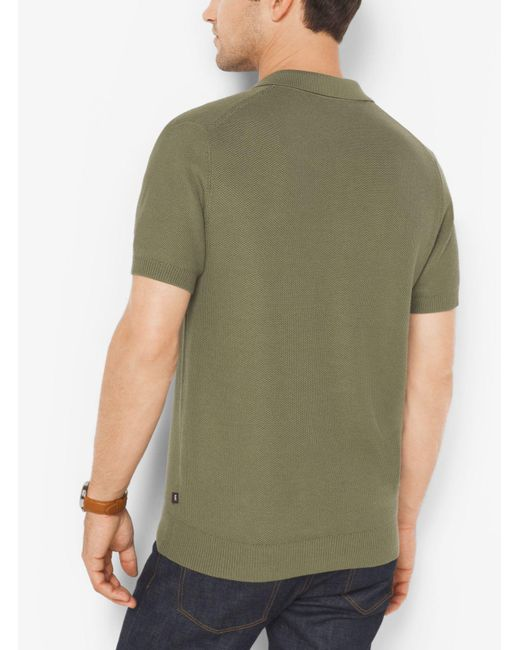Michael Kors | Green Silk And Cotton Polo Shirt for Men | Lyst