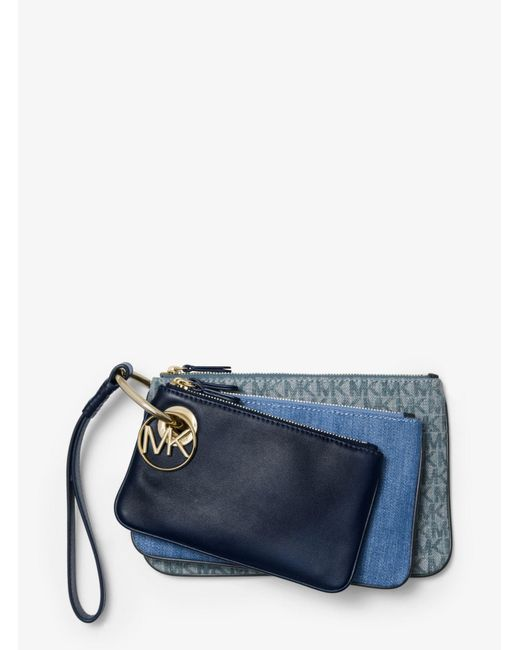 dad506866bf0 ... MICHAEL Michael Kors - Blue Denim And Leather Pouch Trio - Lyst ...