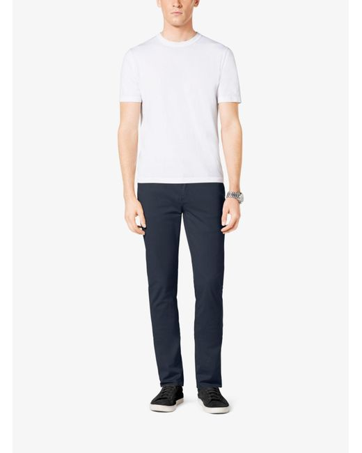 Michael Kors | Black Tailored/classic-fit Stretch-cotton Twill Five-pocket Pants for Men | Lyst