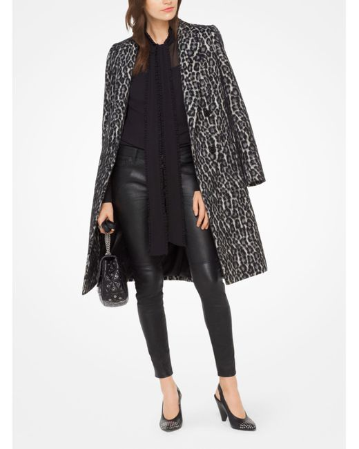 Michael Kors | Black Snow Leopard Jacquard Coat | Lyst