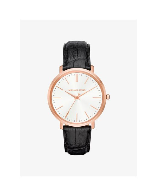 Michael Kors | Metallic Jaryn Rose Gold-tone And Embossed-leather Watch | Lyst