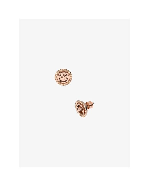 Michael Kors | Pink Logo Rose Gold-tone Stud Earrings | Lyst