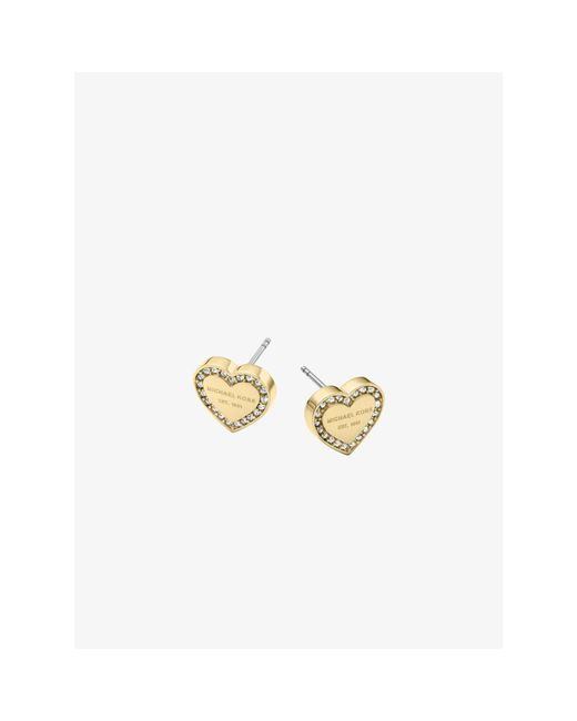 Michael Kors | Metallic Pavé Gold-tone Heart Charm Earrings | Lyst