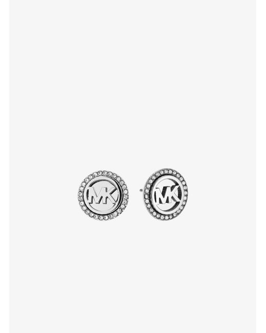 Michael Kors | Metallic Logo Button Silver-tone Earrings | Lyst