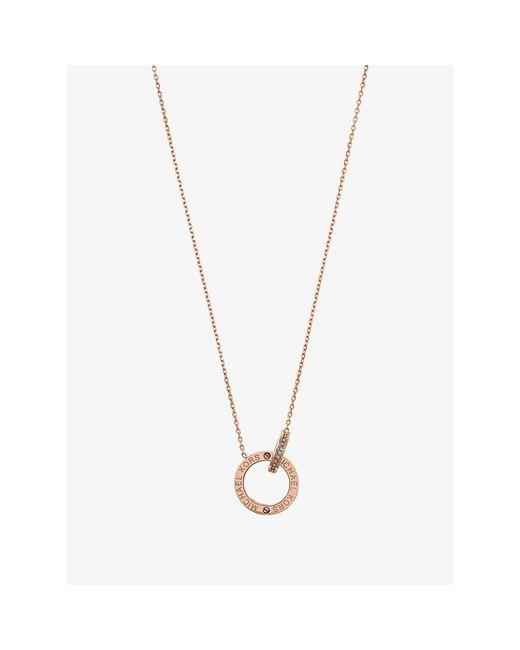 Michael Kors | Metallic Rose Gold-tone Logo Circle Pendant Necklace | Lyst
