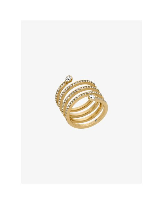 Michael Kors | Metallic Pavé Gold-tone Coil Ring | Lyst