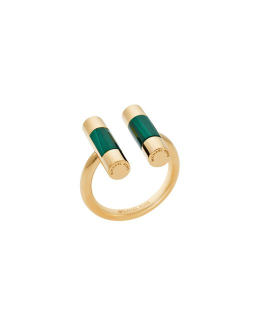 Michael Kors | Metallic Gold-tone Malachite Split Barrel Ring | Lyst