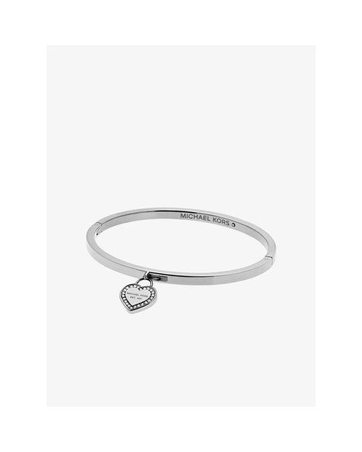Michael Kors | Metallic Silver-tone Logo Heart Bangle | Lyst
