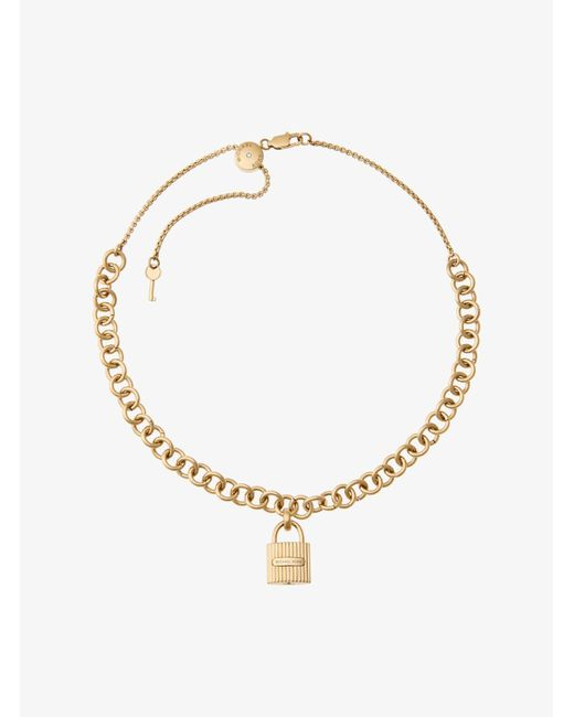 Michael Kors | Metallic Gold-tone Chain-link Padlock Pendant Necklace | Lyst