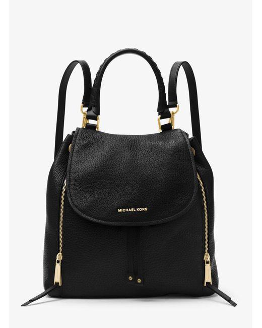 Michael Kors - Black Viv Large Leather Backpack - Lyst