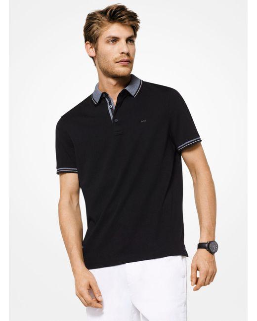 Michael Kors - Black Greenwich Cotton Polo Shirt for Men - Lyst