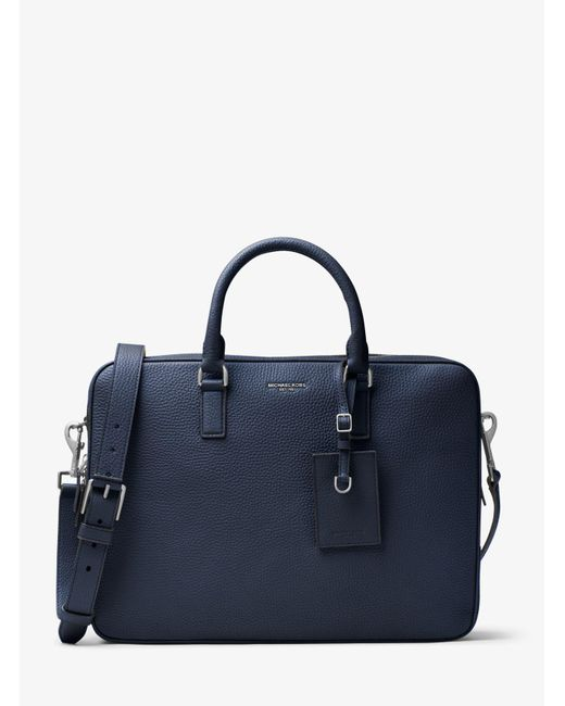 Michael Kors - Blue Bryant Large Leather Briefcase for Men - Lyst