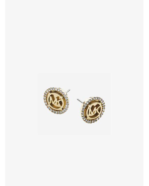 Michael Kors - Metallic Logo Gold-tone Stud Earrings - Lyst