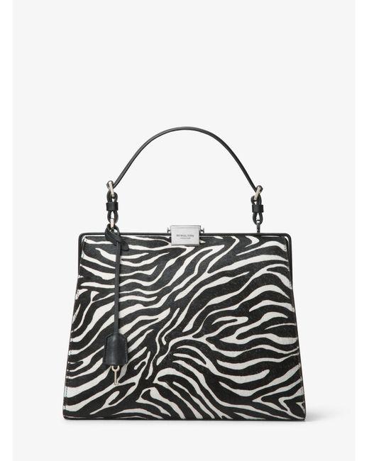 Michael Kors - Black Simone Zebra Calf Hair Top-handle Bag - Lyst