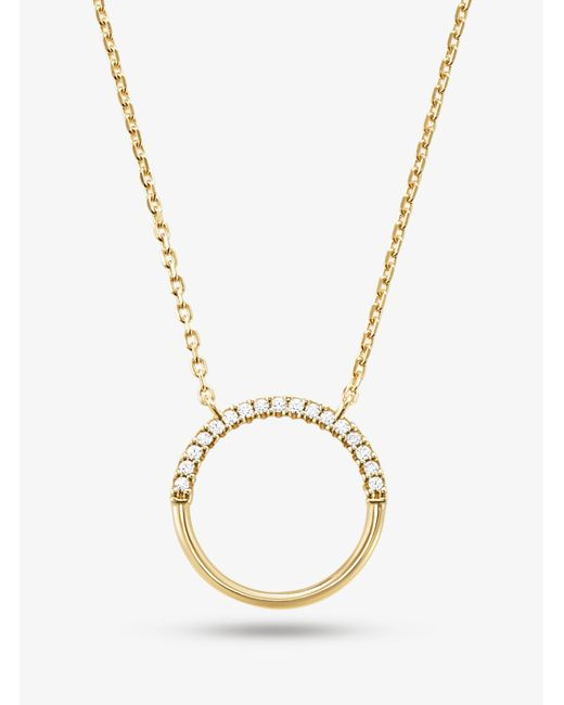 Michael Kors - Metallic Precious Metal-plated Sterling Silver Pavé Circle Starter Necklace - Lyst