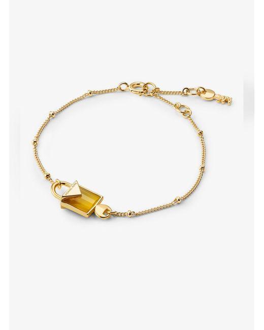 Michael Kors - Metallic 14k Gold-plated Sterling Silver Lock Bracelet - Lyst