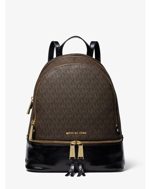 Michael Kors - Brown Rhea Medium Logo And Leather Backpack - Lyst ... 742743e287
