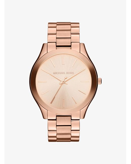 Michael Kors - Metallic Slim Runway Rose Gold-tone Watch - Lyst
