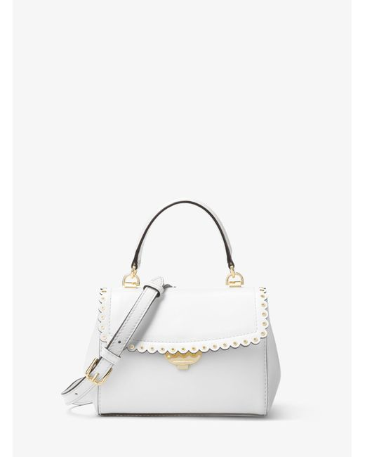 Michael Kors - White Ava Extra-small Scalloped Leather Crossbody - Lyst
