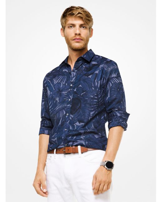 Michael Kors - Blue Slim-fit Leaf Cotton Shirt for Men - Lyst