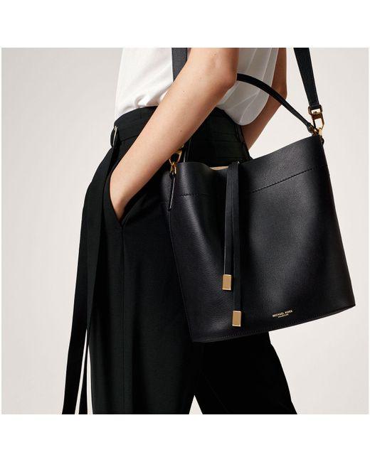 4ac18c8f4326 ... Michael Kors - Black Miranda Large Leather Shoulder Bag - Lyst