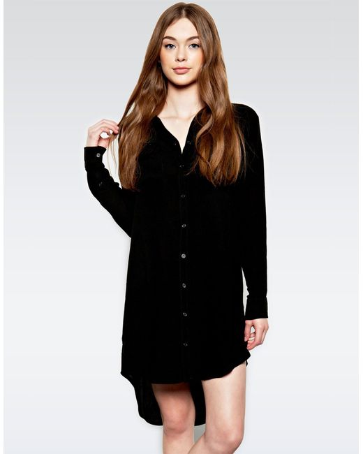 Michael Lauren | Black Charlie L/s Button Up Shirt Dress | Lyst