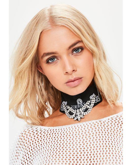 Missguided | Black Bandanna Diamante Choker Necklace | Lyst