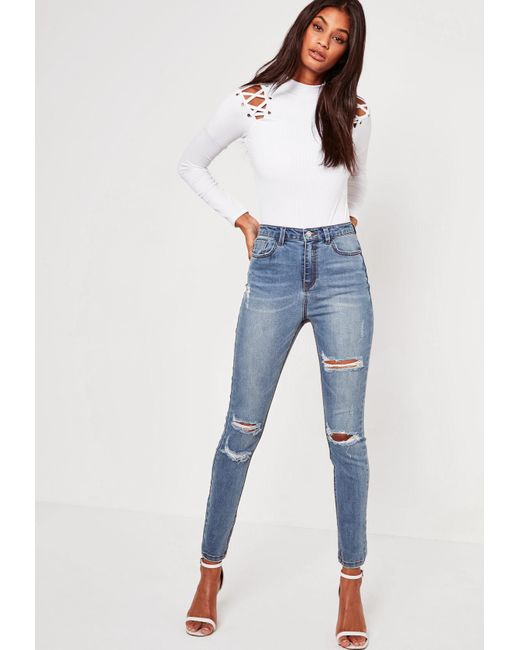 1b9c73bdfea Missguided - Blue Sinner High Waisted Authentic Ripped Skinny Jeans - Lyst  ...