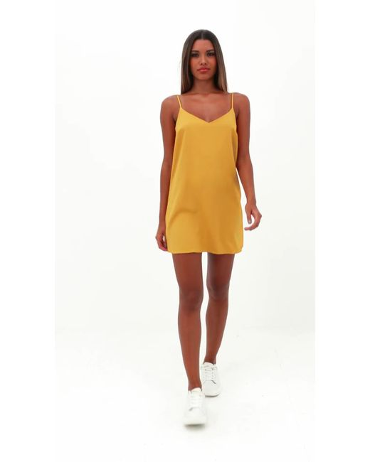 79ad30936f ... Missguided - Yellow Tall Mustard Crepe Cami Shift Dress - Lyst