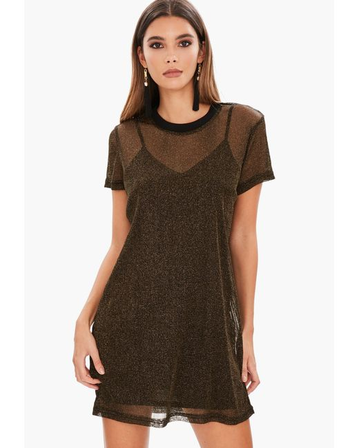 Lyst Missguided Gold Mesh Oversized T Shirt Dress In