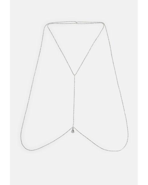 Missguided - Metallic Silver Diamante Back Drape Chain Necklace - Lyst