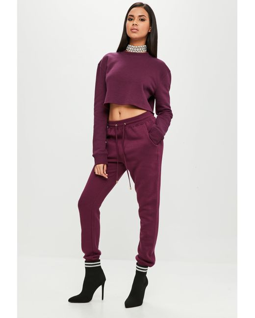 Missguided - Purple Carli Bybel X Burgundy Joggers - Lyst