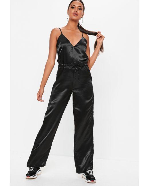 1865d046657d Lyst - Missguided Black Satin Wide Leg Jumpsuit in Black