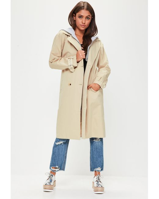 f331dee68893b Lyst - Missguided Beige Hooded Contrast Trench Coat in Natural ...