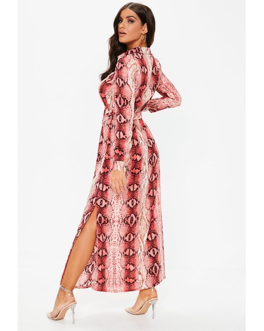 ... Missguided - Pink Snake Button Through Maxi Shirt Dress - Lyst ... eb0e7076c