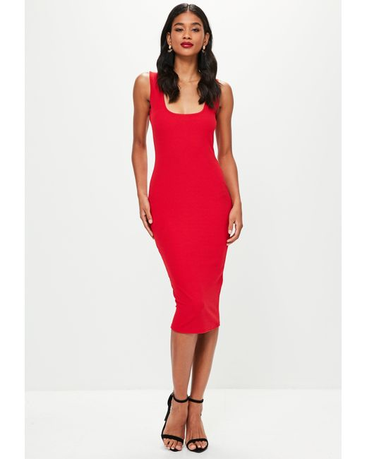 Missguided - Red Square Neck Open Back Midi Dress - Lyst