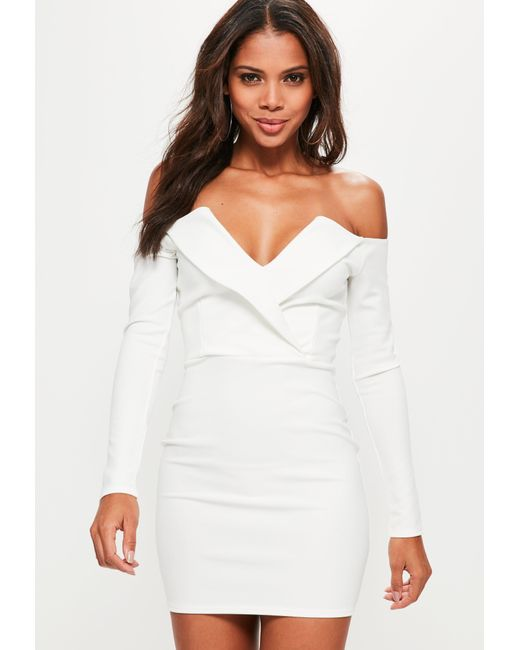 Missguided - White Bardot Foldover Wrap Dress - Lyst