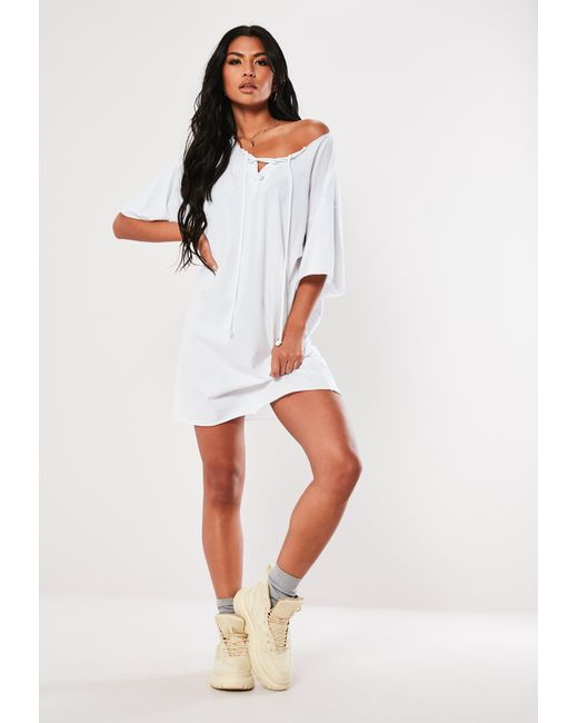 441e93493f59 ... Missguided - White Lace Up Oversized T Shirt Dress - Lyst ...