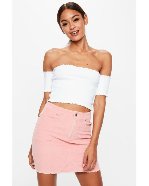 90f28d7e3794ea Lyst - Missguided Tall White Lettuce Hem Ribbed Bardot Crop Top in White