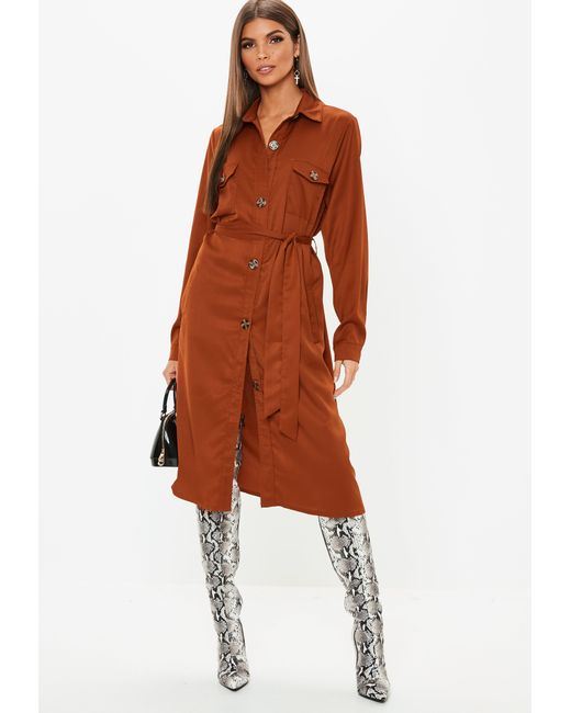 41059eeb2b06b ... Missguided - Brown Rust Tie Waist Utility Shirt Dress - Lyst ...
