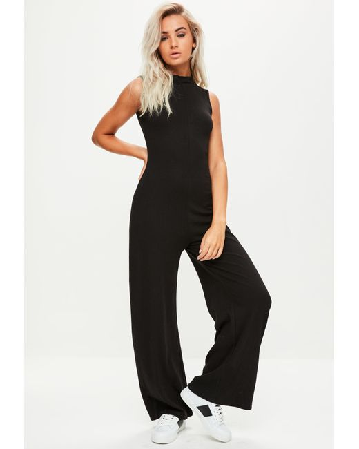 3db0b0b64c78 Lyst - Missguided Black High Neck Sleeveless Jumpsuit in Black - Save 3%