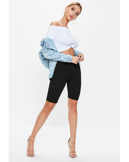 6432ab17421fcf ... Missguided - White Bardot Knot Ribbed Crop Top - Lyst ...