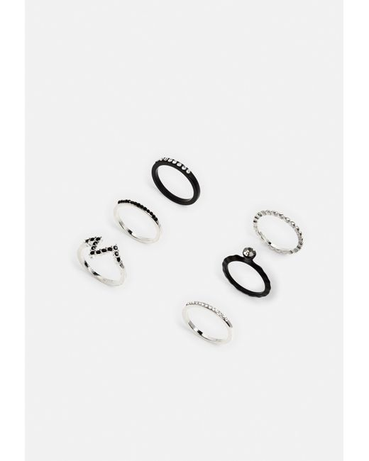 Missguided - Metallic Silver And Black Diamante Ring Set - Lyst