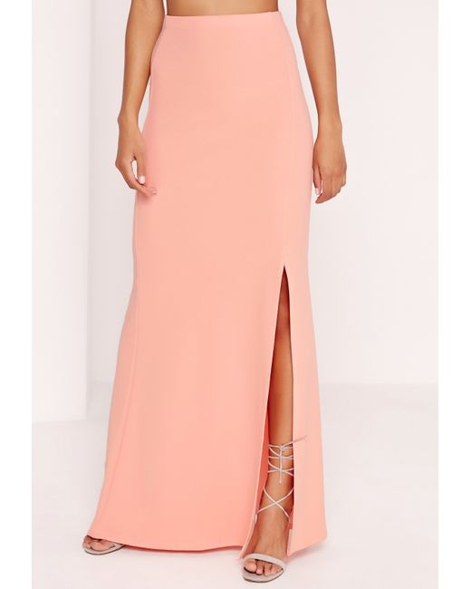 missguided maxi crepe skirt pink in pink lyst