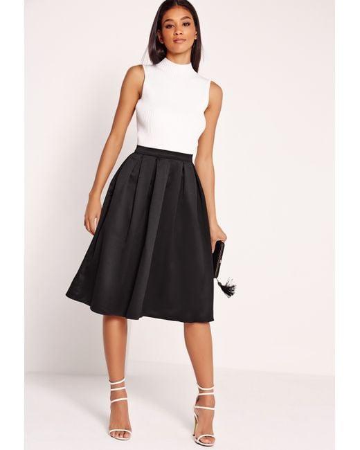 missguided satin pleat waistband midi skirt black in