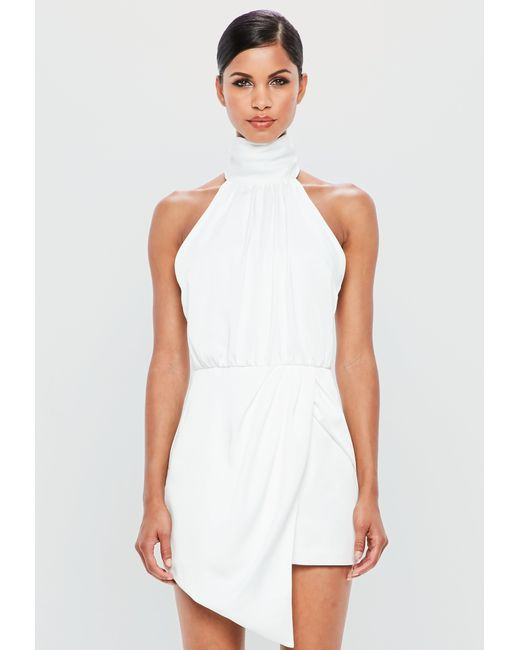 b73b3a72166 Lyst - Missguided Peace + Love White Wrap Satin Playsuit in White
