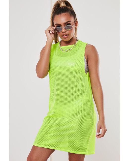 43acd93ccf ... Missguided - Neon Yellow Airtex Vest T Shirt Dress - Lyst ...