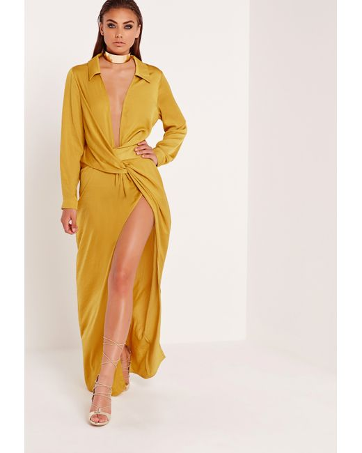 Missguided Wrap Front Shirt Maxi Dress Chartreuse in ...