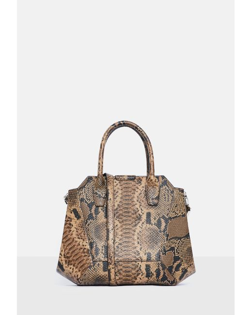 Missguided - Brown Snake Print Bag - Lyst ... d307423e043f9