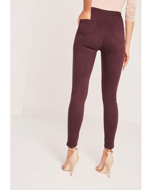 Missguided Burgundy High Waisted Skinny Jeans in Blue | Lyst